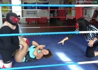 Toro works over Susie Starr's leg
